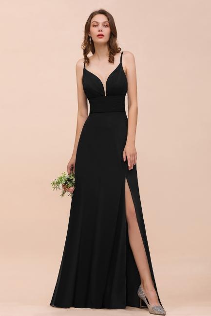 Schwarze Brautjungfernkleider Lang Günstig   Kleid für Brautjungfern