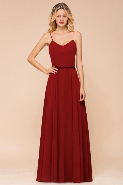 Rote Lange Brautjungfernkleider | Schöne Hochzeitspartykleider Günstig