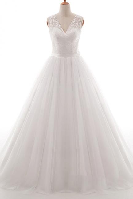 Wedding dresses v neckline | Simple wedding dress A line