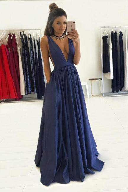 Blau Abendkleider Lang V Ausschnitt Taft Bodenlang Abendmoden Abschlussballkleider