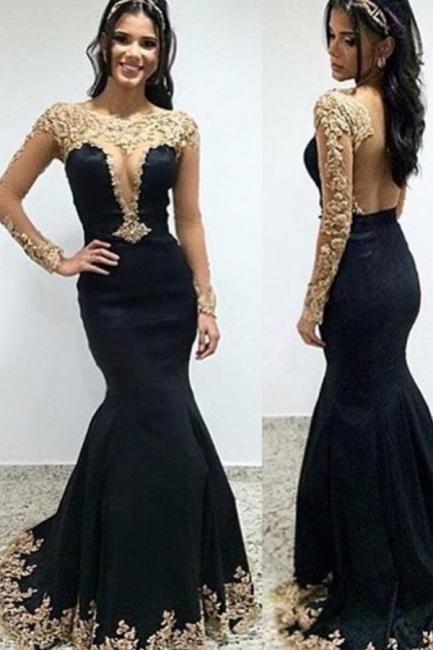 Schwarze Abendkleider mit lang Ärmel Applikation Bodenlang Tülle Ballkleider Abendmoden