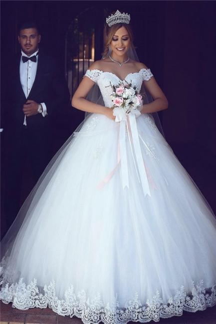 Prinzessin Brautkleider Weiß Spitze Tüll Schleppe Brautmoden Hochzeitskleider