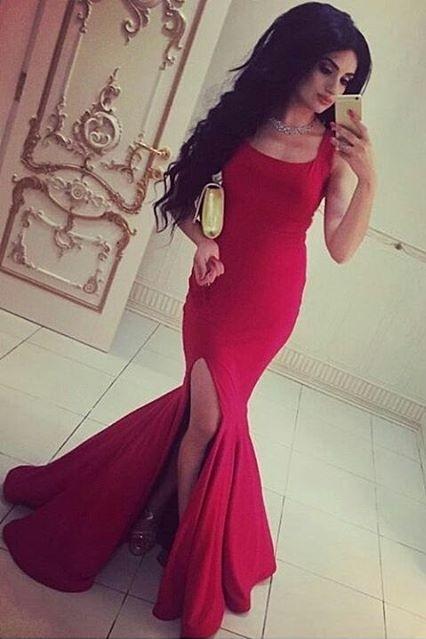Neue Rot Abendkleider Lang Günstig Schulterfrei Abendmoden Abiballkleider Satin
