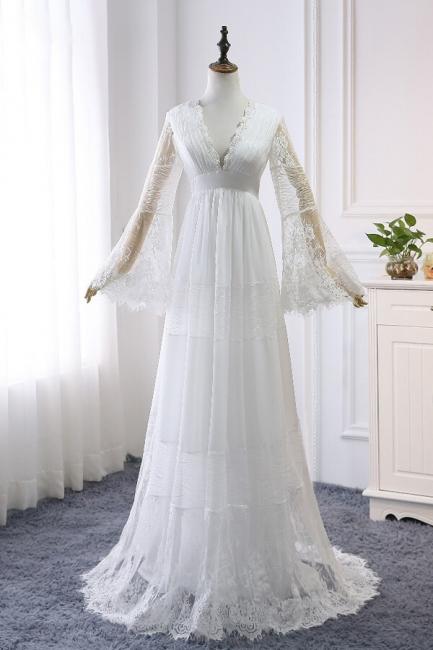 Wunderschöne Brautkleider mit Ärmel | Schlichte Hochzeitskleider Online