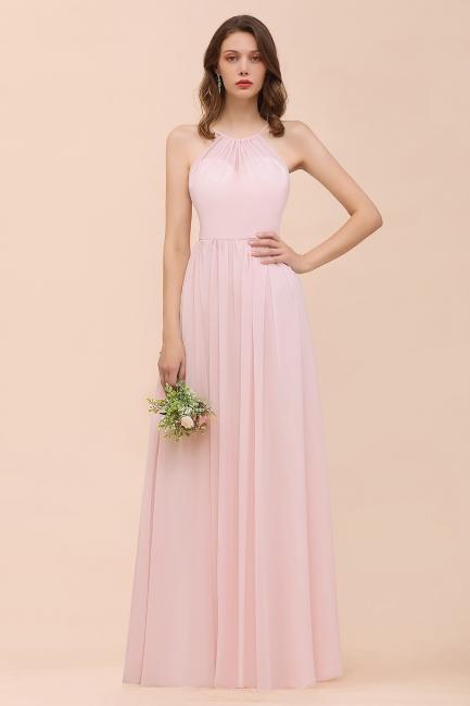 Schicke Brautjungfernkleider Lang Rosa   Chiffon Kleider Günstig