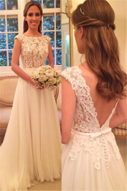 A Linie Weiß Brautkleider Mit Spitze Chiffon Rückenfrei Brautmoden Hochzeitskleider