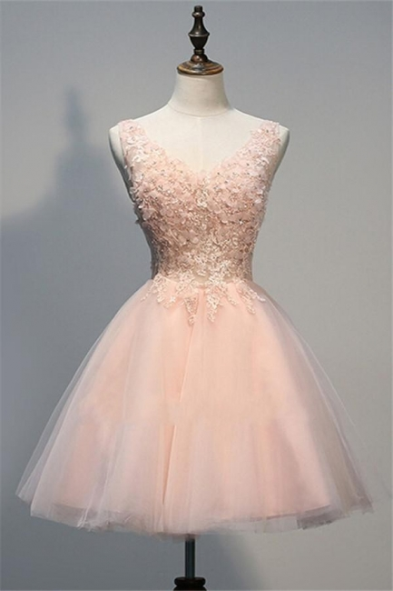 Pink Prom Dresses Evening Dresses Short With Lace A Line Tulle Evening Wear
