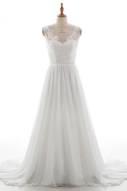 Elegante Brautkleider V Ausschnitt | Hochzeitskleid mit Spitze