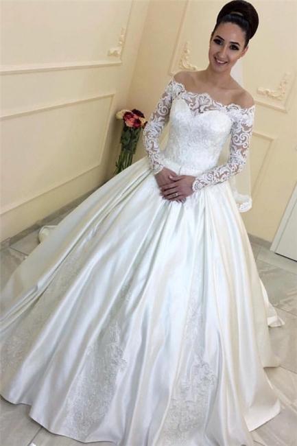Weiße Hochzeitskleider Mit Lange Ärmel Schulterfrei Satin Brautkleider Brautmoden Mit Spitze