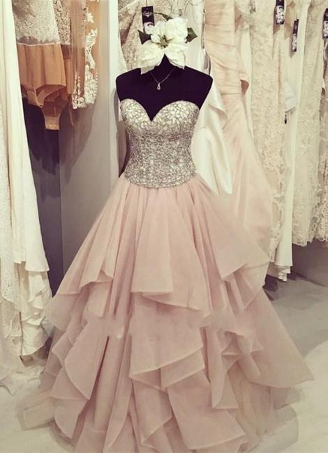 Prinzessin Abschlussballkleider lang Rosa Mit Perlen Herz Organza Abendmoden Abiballkleider