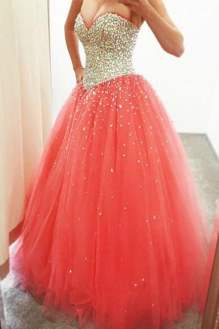 Quinceanera Kleider Günstig Herz Kristall Prinzessin Abendkleider Abendmoden