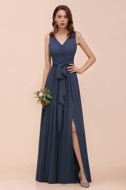 Grau Brautjungfernkleider Lang Günstig   Chiffon Kleider Hochzeitsparty