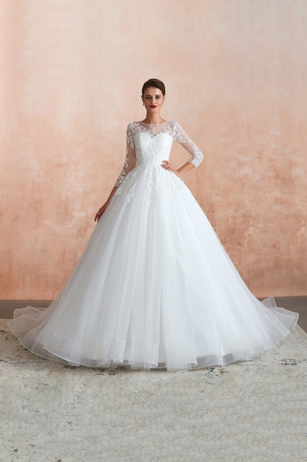 Wedding dresses with sleeves | White Wedding Dresses Lace A Line