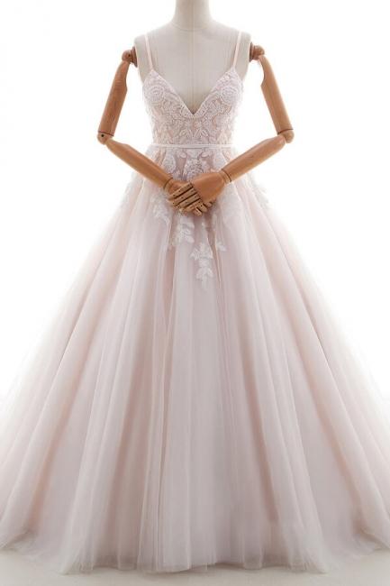 Simple wedding dresses v neckline | Lace wedding dresses A line
