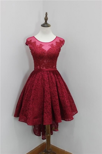 Wine Red Short Long Cocktail Dresses Prom Dresses Lace A Line Evening Wear Prom Dresses