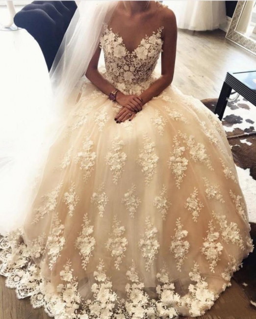 White Ivory Wedding Dresses Heart Shaped Long Bridal Gowns Bridal Fashion Floral Embroidery Online