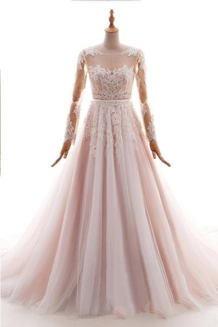 Blush Pink Brautkleider mit Ärmel | Hochzeistkleider Günstig Online