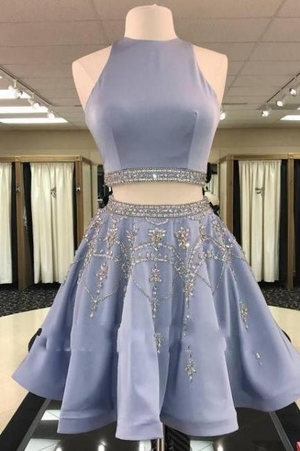 2 Piece Cheap Cocktail Dresses Blue A Line Evening Dresses Short Elegant