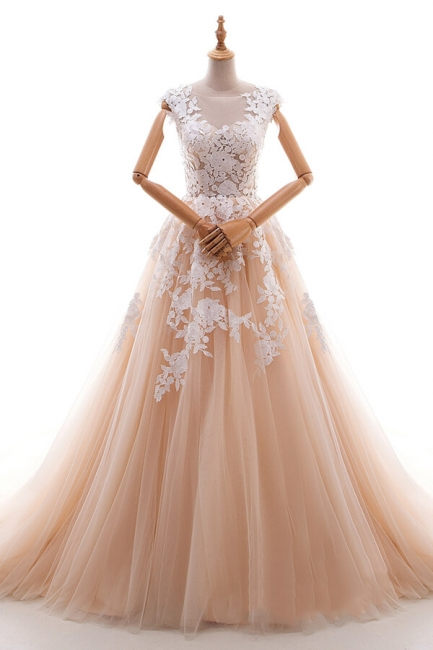 Champagne Wedding Dresses A Line | Wedding Dresses Lace Online
