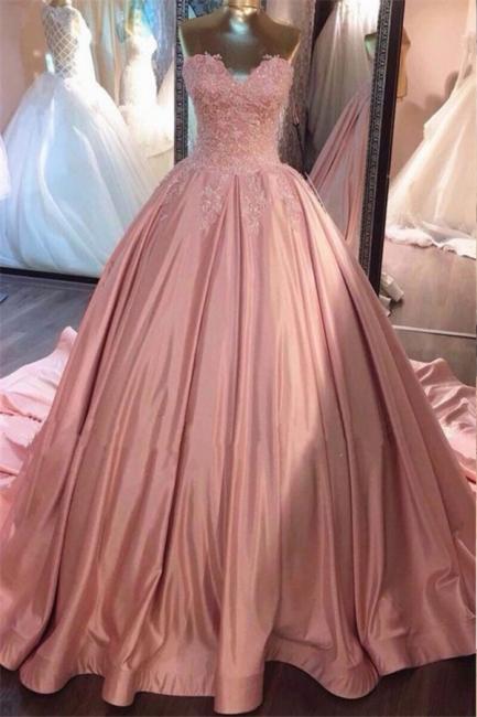 Designer Rosa Quinceanera Kleider 2020 mit Spitze Günstige Abiballkleider Online