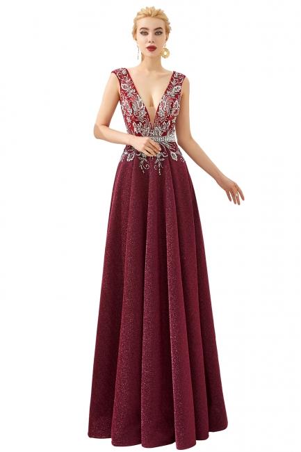 Evening dress long v neckline | Red prom dresses cheap