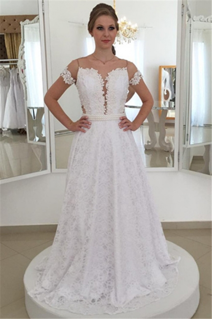 Wedding Dress Simple Lace White A Line Wedding Dresses Cheap Online
