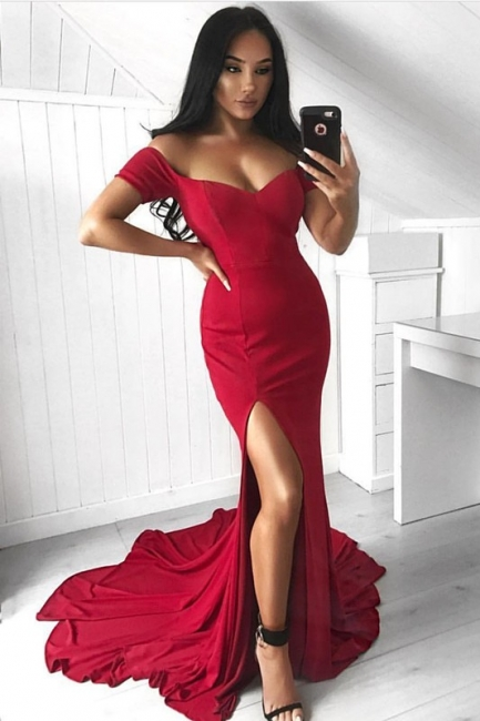 Fashion evening dresses long red cheap floor length prom dresses evening wear online