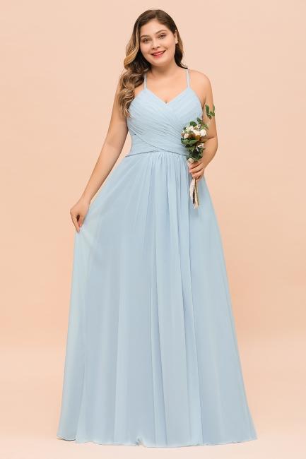Brautjungfernkleider Große Größe | Blaues Brautjungfernkleid Lang Günstig
