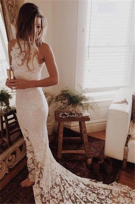 Elegante weiße Brautkleider Spitze Lang Schleppe Brautmoden Hochzeitskleider