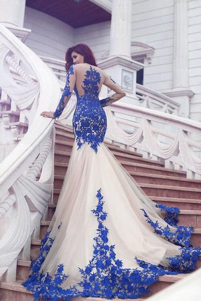 Long Sleeves Evening Dresses Blue With Lace Tulle Evening Wear Prom Dresses