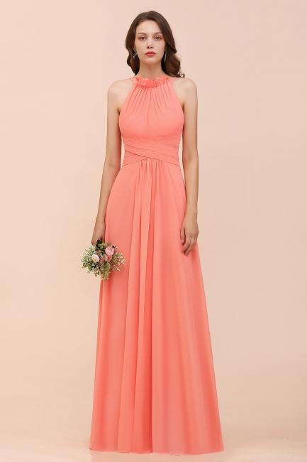 Coral Brautjungfernkleider Lang Günstig | Chiffon Kleider für Brautjungfern