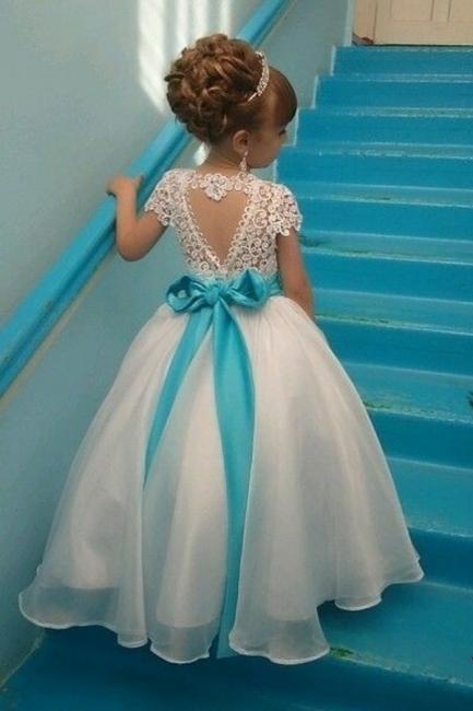 Weiß Kinderkleider Für Blumen Mit Spitze Organza Blumenmädchenkleider für Hochzeit