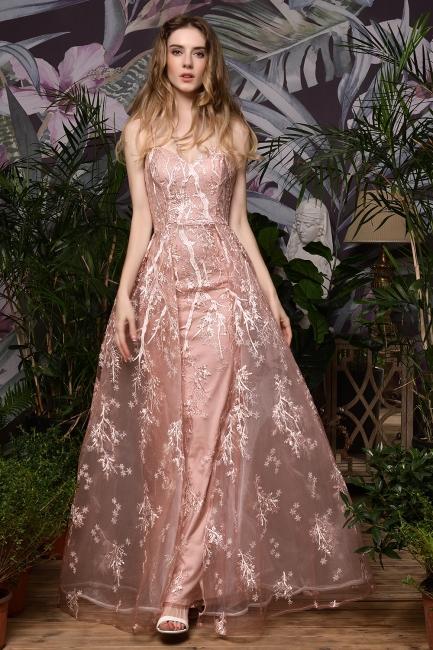 Beautiful evening dress long pink | Lace prom dresses