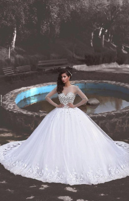Luxurious Wedding Dresses White Labg Sleeves Crystal Tulle Princess Wedding Gowns