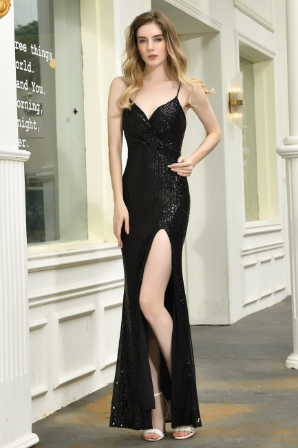 Evening dress long black | Prom dresses with glitter