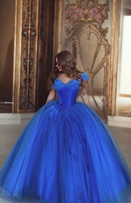 Blau Quubceanera Kleider Lang Günstig Perlen Schulterfrei Abendkleider Abendmoden