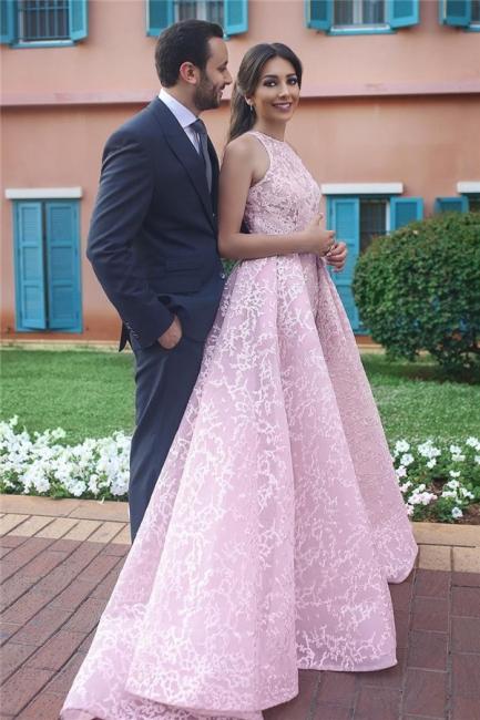 Elegante Rosa Abendkleider Lang Günstig A Linie Abendmoden Abiballkleider