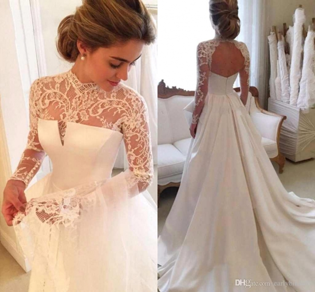 Cheap Wedding Dresses Lace With Sleeves White A Line Wedding Dresses Online