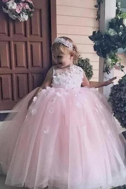 Blumenmädchenkleider für Kinder | Blumenmädchen Kleid Altrosa