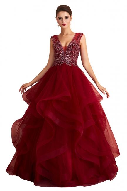 Abendkleid Lang V Ausschnitt | Rote Abiballkleider Online