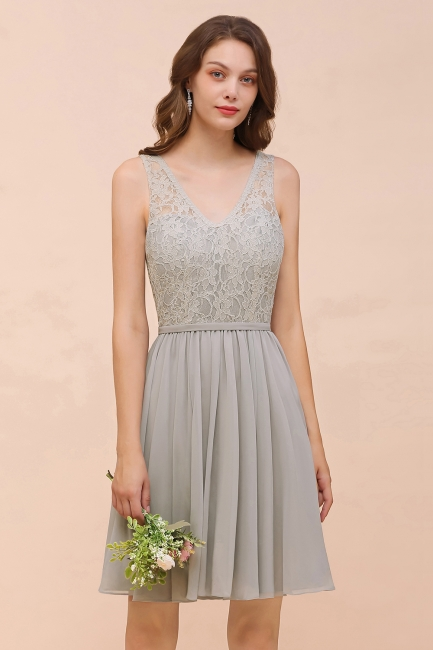 Silver Bridesmaid Dresses Short Cheap | Chiffon dresses with lace