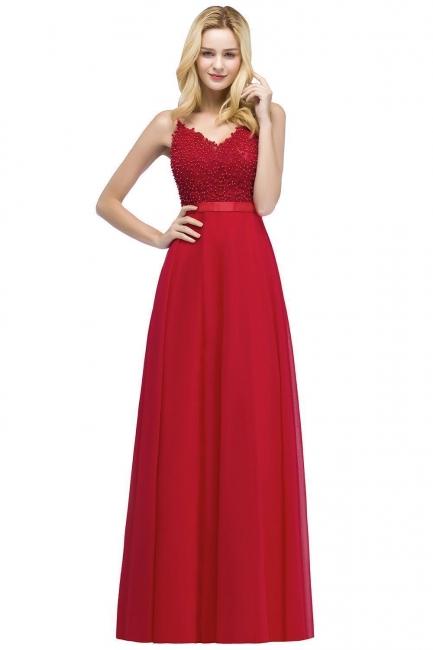 Evening dresses long V neckline | Red prom dresses