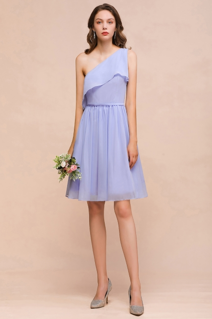 Lavender Brautjungfernkleider Kurz | Chiffon Kleider Günstig für Brautjungfern