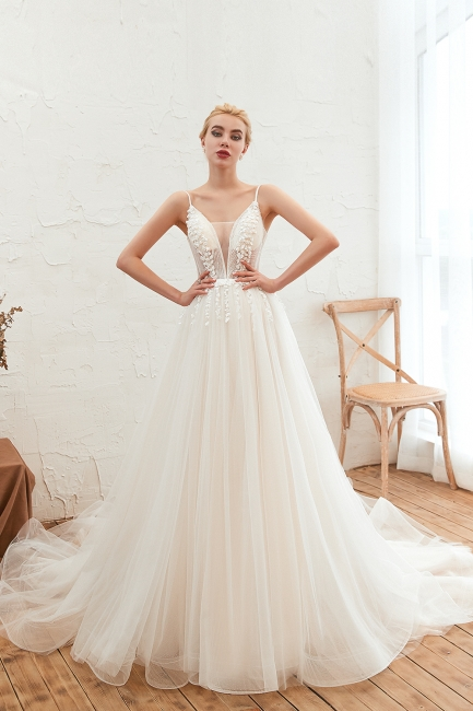 Modern wedding dress A line | Tulle wedding dresses with lace