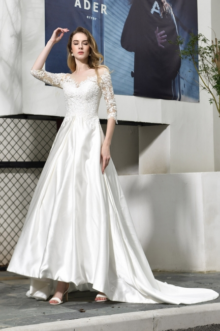 Standamt Hochzeitskleid A Linie | Brautkleider Lange Ärmel