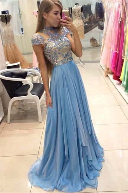 Blue Evening Dresses Long Cheap Beaded With Sleeves Evening Wear Party Dresses