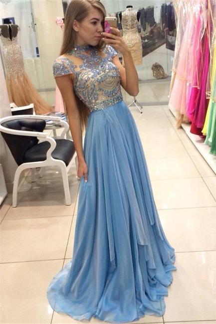 Blau Abendkleider Lang Günstig Perlen Mit Ärmel Abendmoden Partykleider