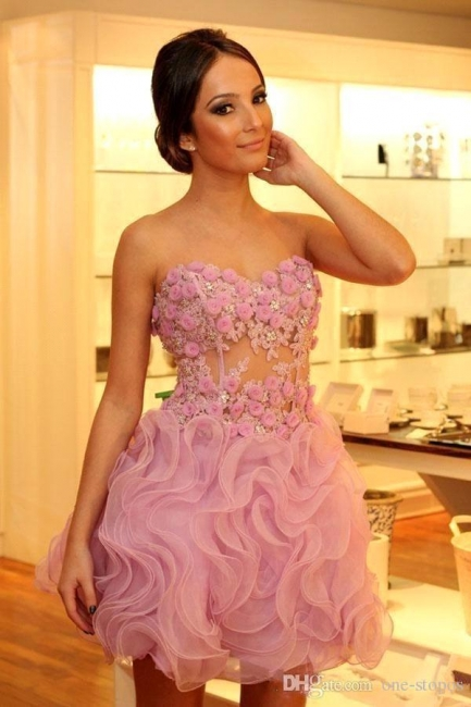 Pink Short Evening Dresses Cocktail Dresses With Lace Prom Dresses Online