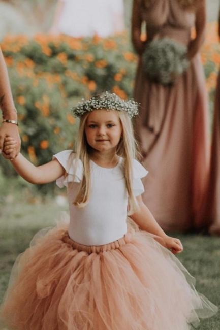 Blumenmädchen Kleid Apricot Tüll | Kinder Blumenmädchen Kleider
