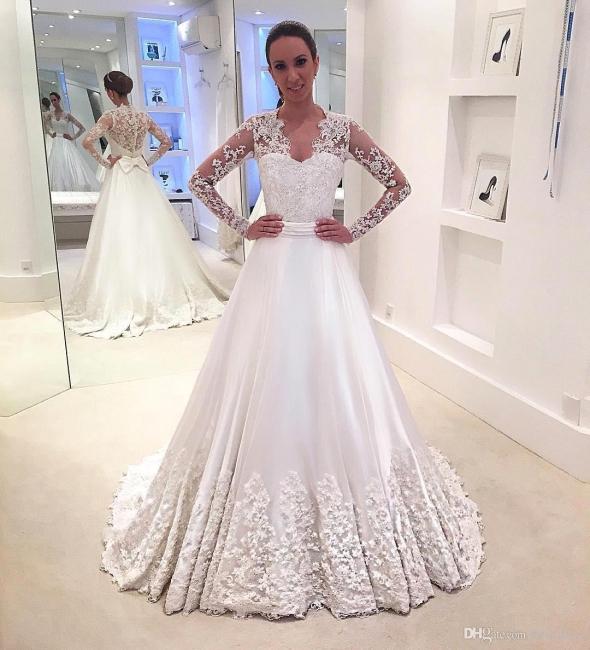 Brautkleider Lang Ärmel V Ausschnitt Weiß Brautmoden Mit Spitze Hochzeitskleider